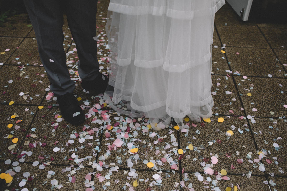 Confetti feet shot titchfield wedding photographer